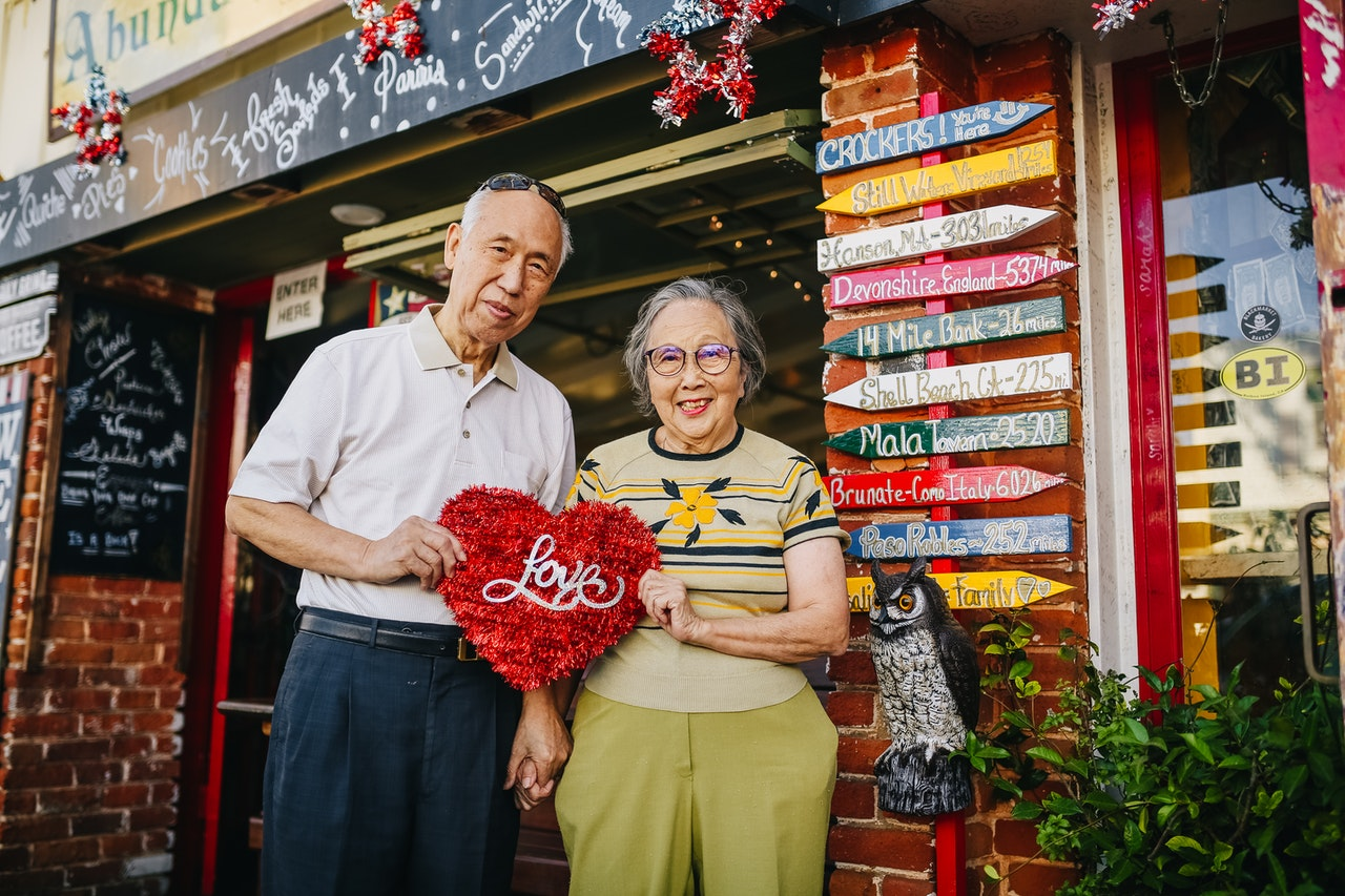 Senior Couple At A Cafe
